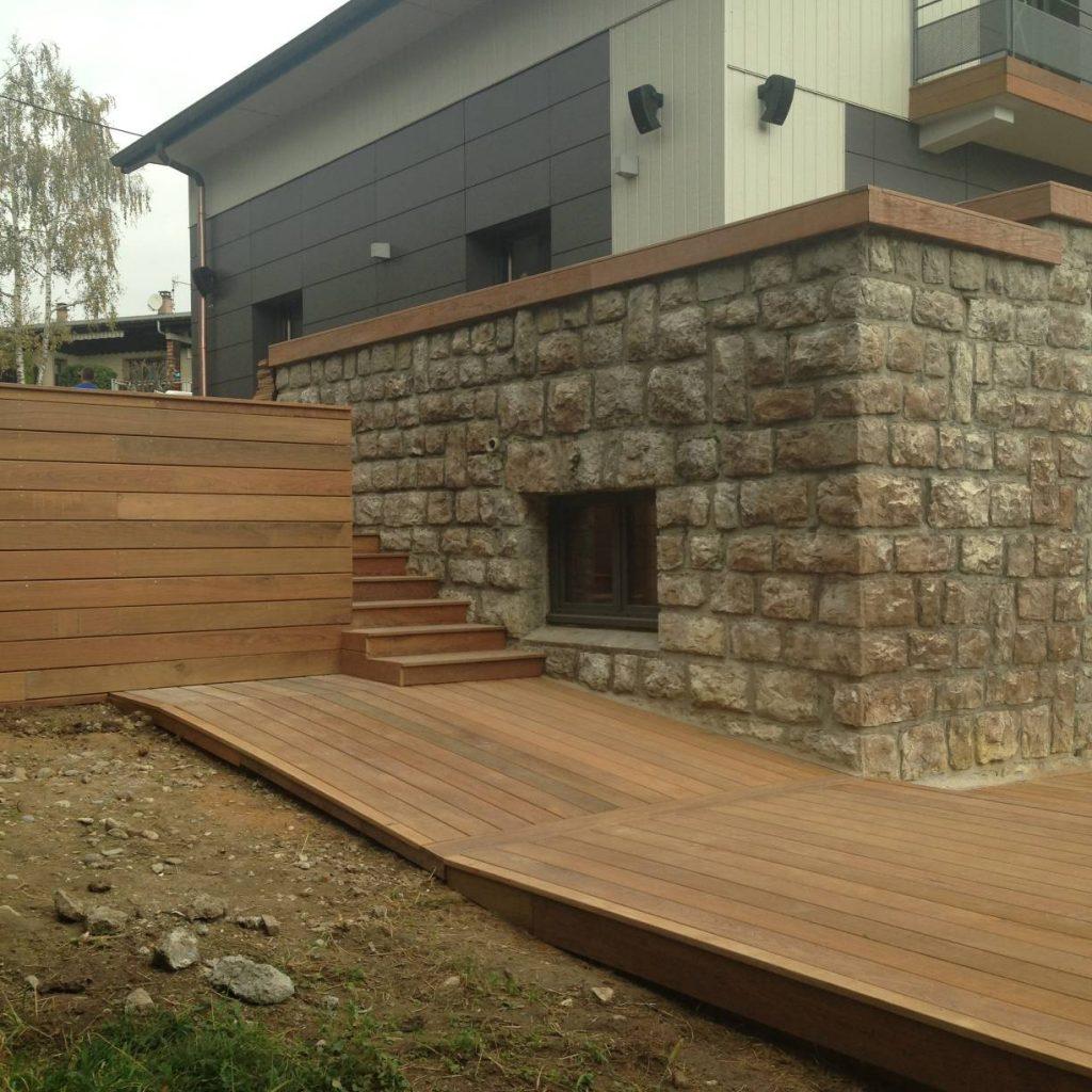 Terrasse bois exotique, habillage bois